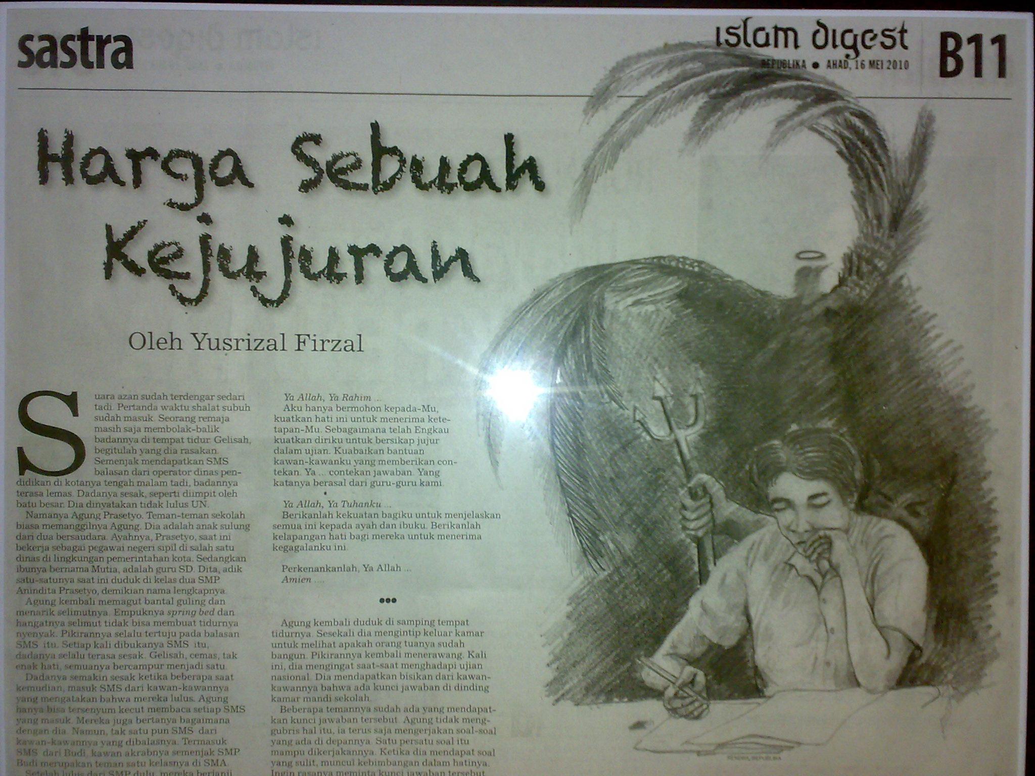 Suara ... & Harga Sebuah Kejujuran u2013 Yusrizalfirzal